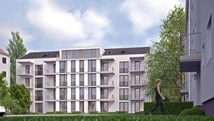 Visualisierung eines modernen Wohnkomplexes von der Südseite