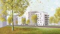 """Vorschaubild für die Download-Datei Eine Visualisierung der geplanten beiden Gewoba-Doppel-Neubauten """"Tarzan und Jane""""  in der Bremer Gartenstadt Vahr"""