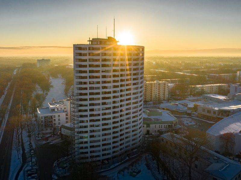 Das Aalto Haus in der Morgensonne