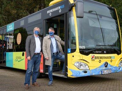 Der neue GEWOBA Bus in Bremerhaven trägt Maske