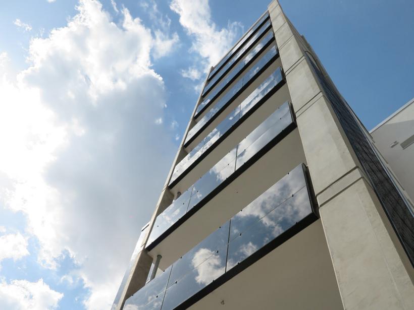 Hochhaus Eislebener Spieglung Fassade